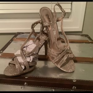 Qupid Champaign Glitter Heels